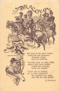 Czech painter MIKOLAS ALES Art Nouveau Dragons Cavalry Z. Hradecka poem