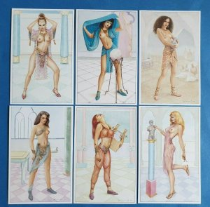 Set of 6 Art Fantasy Postcards Temple Maidens (Set 1) by Jeff Willis Geoff White