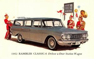 1962 RAMBLER CLASSIC-6  Deluxe 4-Door Station Wagon CAR Automobile~Band Postcard