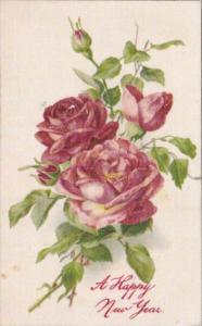 Silk Card Happy New Year With Red Roses