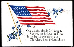 USA Patriotic With Flag Our Country Stands for Humanity Embossed