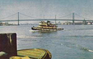 Tugboat at Delaware River Bridge , CAMDEN , New Jersey , 50-60s
