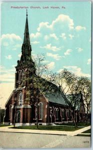 Lock Haven Pennsylvania Postcard Presbyterian Church Building View 1912 Cancel