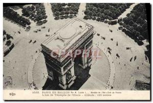 Old Postcard Aviation Zeppelin airship in Paris Arch of triumph of the ball &...