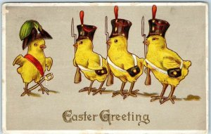 1916 EASTER Greeting Embossed Postcard Dressed Chicks Army Soldiers Military