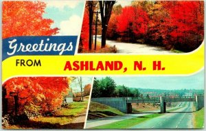ASHLAND, New Hampshire Greetings Postcard Multi-View Autumn Scenes *Water Damage