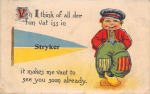 All That's Fun in Stryker Ohio~Vant to See You Soon~1915 Pennant Postcard