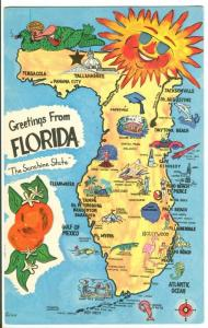 Greetings from Florida the Sunshine State 1972 used Postcard