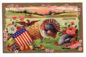 Thanksgiving Turkeys and Eagle, Flag, Embossed, Printed in Germany 2168