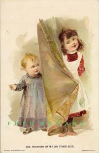 1890 Ad Card: Woolson Spice, Children & Drapery