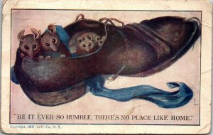 Postcard Be It Ever So Humble Mice in Shoes U. Co. 1908 - RATS - VINTAGE