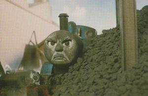 Thomas The Tank Engine Covered In Coal Coaldust Childrens Railway Postcard