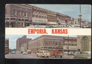 EMPORIA KANSAS DOWNTOWN STREET SCENE 1950's CARS VINTAGE POSTCARD