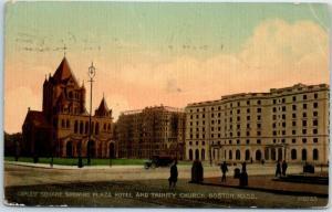1912 Boston, Massachusetts Postcard COPLEY SQUARE Plaza Hotel & Trinity Church