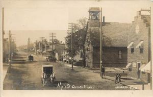 1907 RPPC Postcard Great Main Street Scene Oscoda MI Iosco County Bradshaw Photo