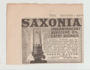 Saxonia Kerosene Oil Lamp 1910 Ad, USA Lighting 78 Taylor St Springfield MA