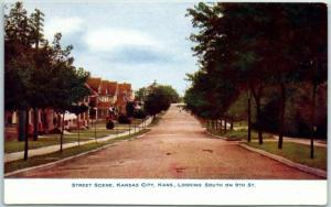Kansas City, KS Postcard Street Scene, Looking South from 9th St. 1900s Unused