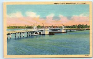 Campostella Bridge Norfolk Virginia VA Vintage Linen Unused Postcard A57