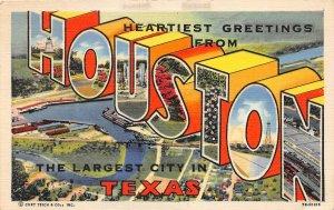 G22/ Houston Texas Postcard Large Letter Linen Greetings from Houston