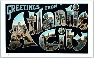 ATLANTIC CITY New Jersey Large Letter Postcard Tichnor White Border 1930s Unused