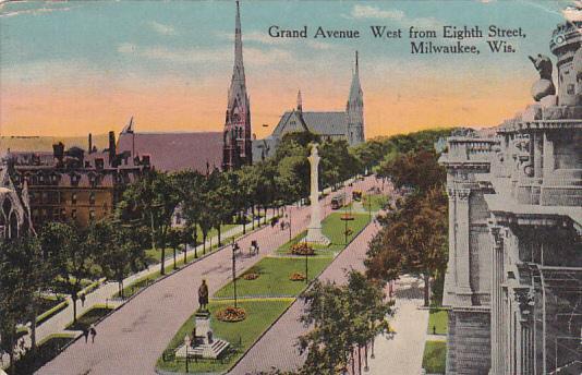 Grand Avenue, West from Eighth Street, MILWAUKEE, Wisconsin, PU-1915