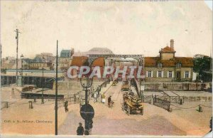 Postcard Old Cherboug The swing bridge and the street of the Val de Saire