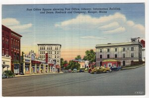 Bangor, Maine, Post Office Square, showing Post Office, Library