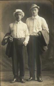 Men Shirts Ties Suspenders Hats Vintage c1910 Fashion Real Photo Postcard