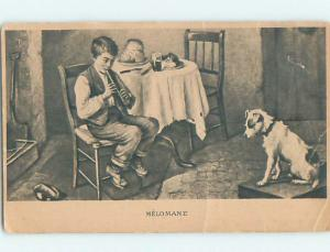 Bent Corner Pre-1907 foreign DOG LISTENS TO BOY PLAY FLUTE MUSIC HL9405