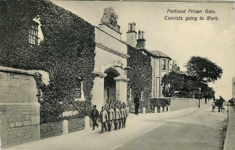 Dorset UK~Isle of Portland~Prison Gate~Convicts to Work~Guards~Horse Wagon~1910