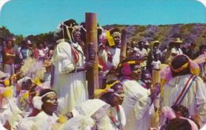 New Caledonia Noumea Natives With Pilou-Pilou Drums