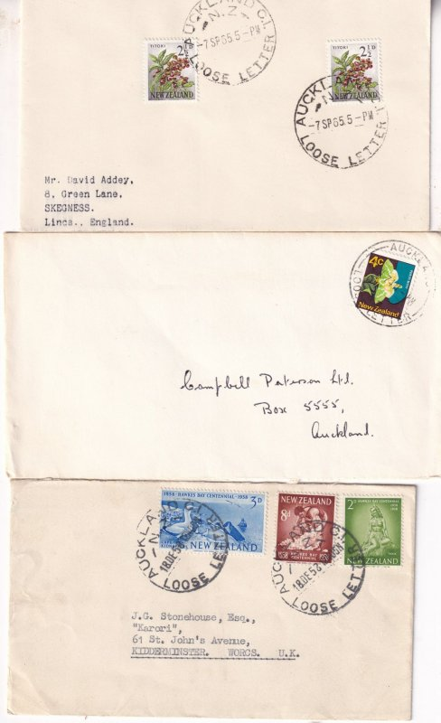Auckland Loose Letter New Zealand 3x Cover & 5 Frank s