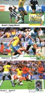 Brazil Algeria Spain Costa Rica 3x 1986 World Cup Postcard s
