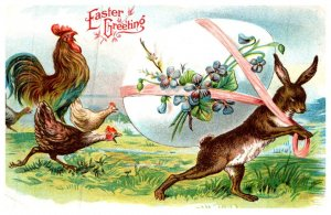 Easter , Rabbit pulling Egg followed by Rooster , Chickens
