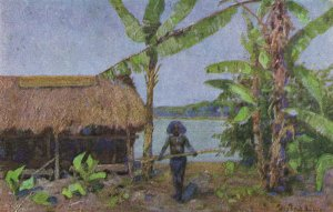 PC CPA PAPUA NEW GUINEA, NATIVE AND NATIVE HUT, Vintage Postcard (b19776)