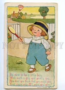 175918 BADMINTON Boy by DRAYTON Vintage R&N #490 PC
