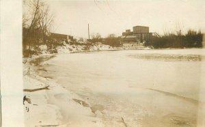 C-1910 Sioux Falls South Dakota River Factory Bridge RPPC Photo Postcard 12376
