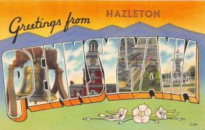 Hazleton Pennsylvania~Liberty Bell~Fountain~1940s Large Letter Linen Postcard