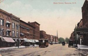 Horse and Trolley on Main Street - Batavia NY, New York - pm 1911 - DB