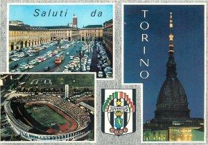 Postcard Italy Saluti da Torino multi views Juventus football stadium