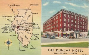 JACKSONVILLE , Illinois, 1930-40s; The Dunlop Hotel and a map