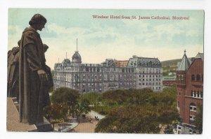 Canada Quebec Montreal Windsor Hotel from St James Cathedral Vtg Postcard