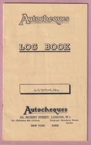 Autocheques London Hotel 1950s Car Petrol Log Book