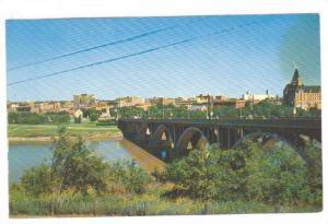 Saskatoon Skyline, River & Nineteenth St. Bridge, Saskatchewan, Canada, 40-60s