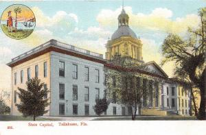 A24/ Tallahassee Florida Fl Postcard c1920 State Capitol Building Seal 2View 2