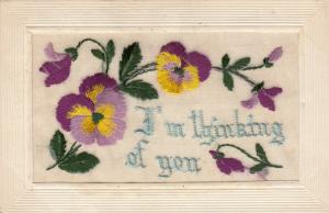 Hand Sewn, 1900-10s; I'm thinking of you, yellow & purple flowers