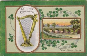 Saint Patrick's Day Shaw's Bridge Belfast and Harp 1909