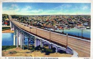 George Washington Memorial Bridge Seattle WA Posted Linen Vintage Postcard