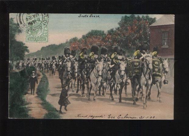 053568 English military Horsemen Orchestra Vintage PC