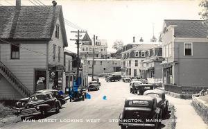 Stonington ME Main Street Looking West IGA Store Old Cars RPPC Postcard